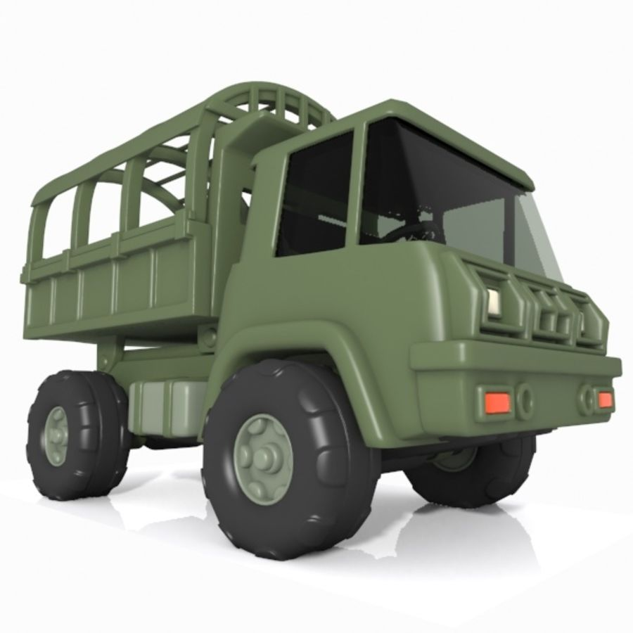 Cartoon Military Truck royalty-free 3d model - Preview no. 4