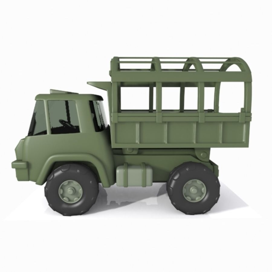 Cartoon Military Truck royalty-free 3d model - Preview no. 9