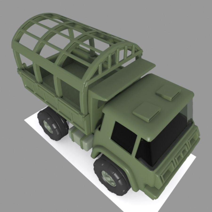 Cartoon Military Truck royalty-free 3d model - Preview no. 7