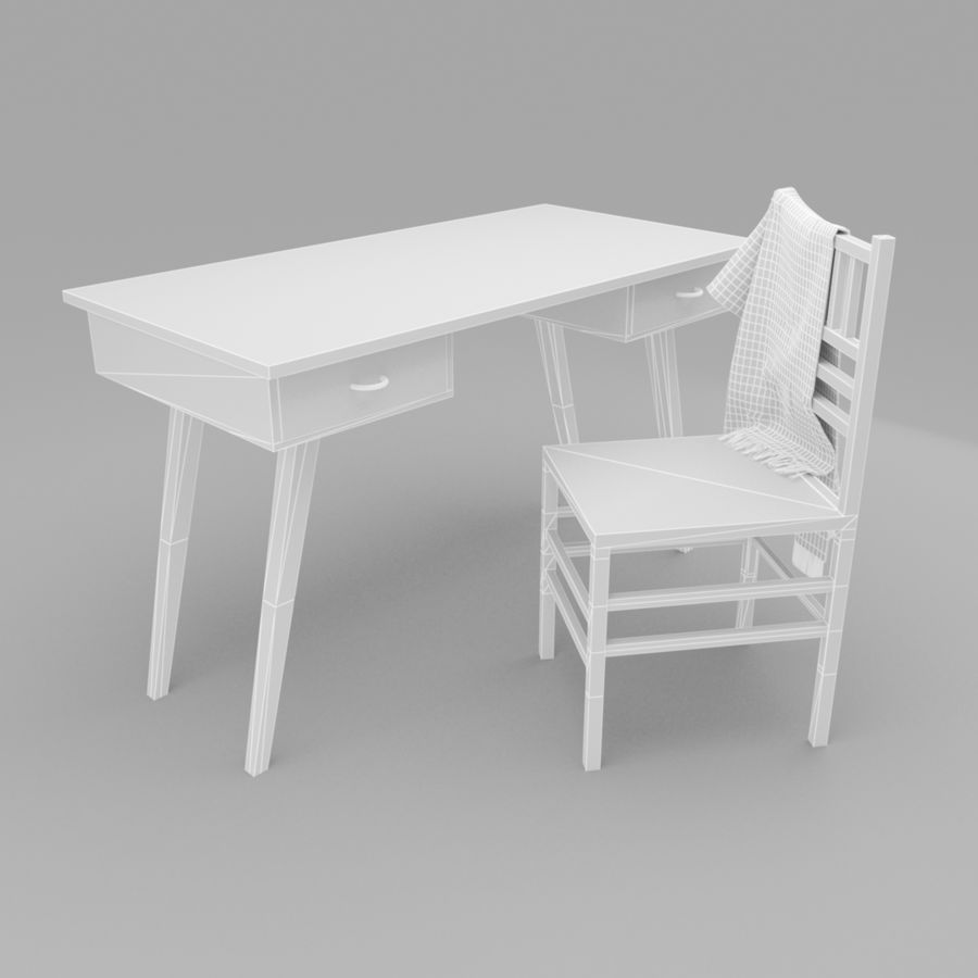 Studera bord & stol royalty-free 3d model - Preview no. 7