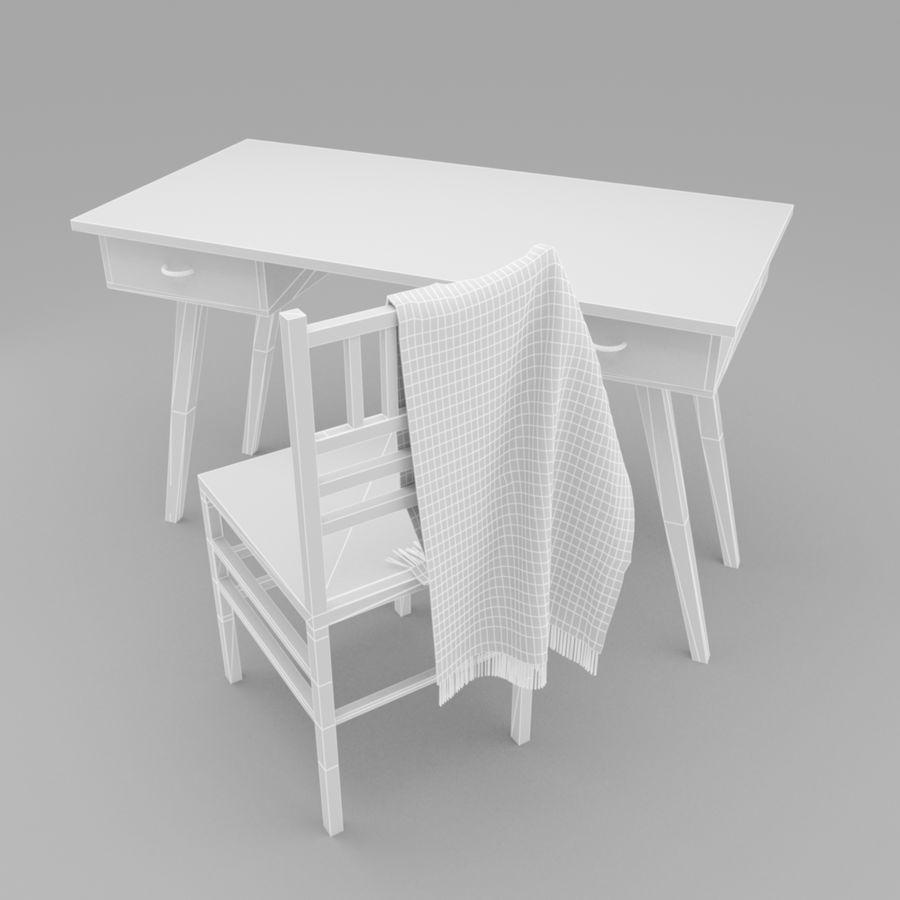 Studera bord & stol royalty-free 3d model - Preview no. 8