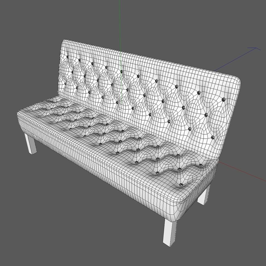 Modern Buttoned Sofa Chair royalty-free 3d model - Preview no. 11