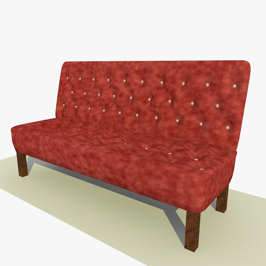 Modern Buttoned Sofa Chair royalty-free 3d model - Preview no. 2