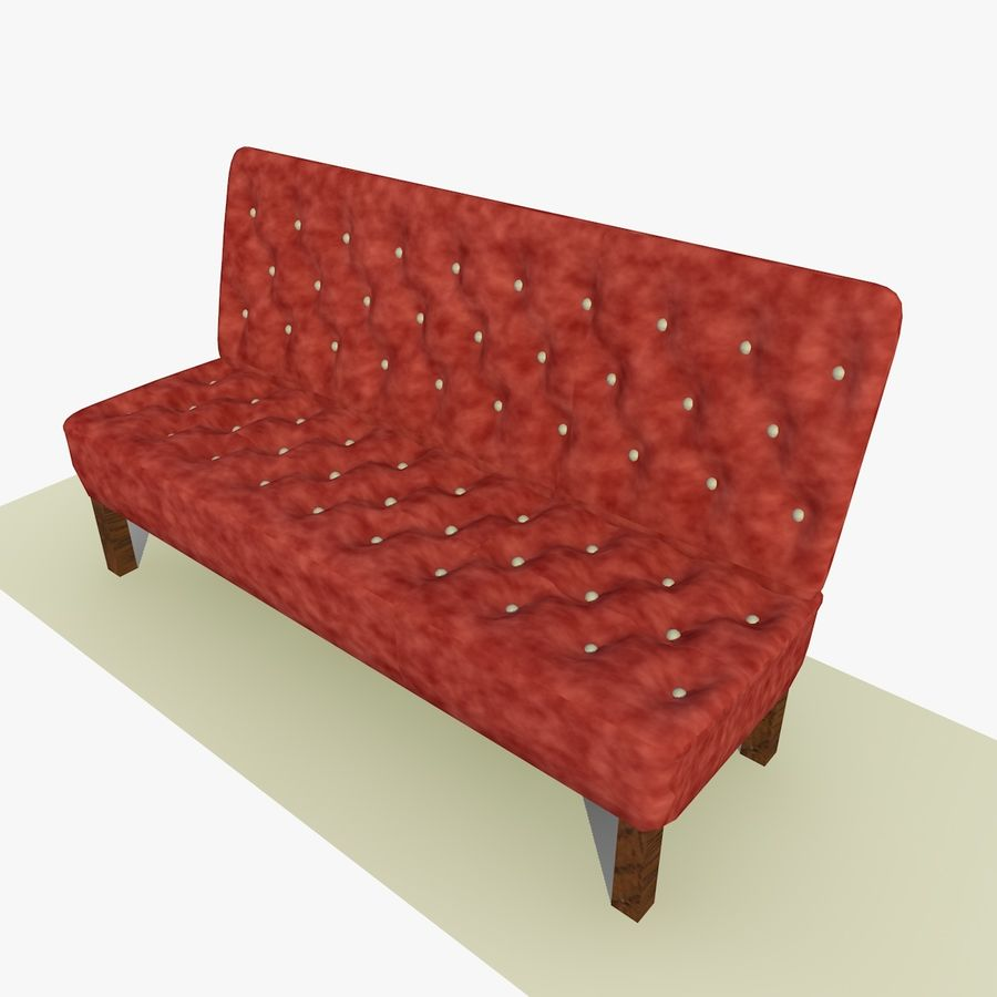 Modern Buttoned Sofa Chair royalty-free 3d model - Preview no. 10