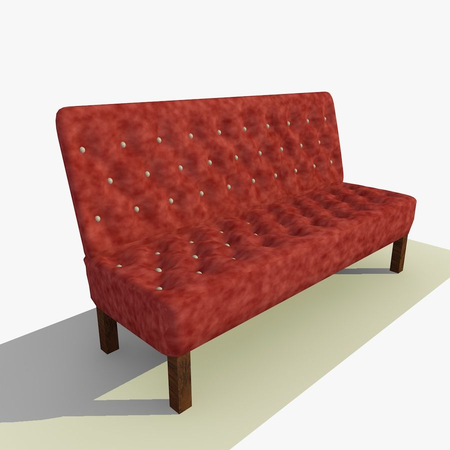 Modern Buttoned Sofa Chair royalty-free 3d model - Preview no. 8