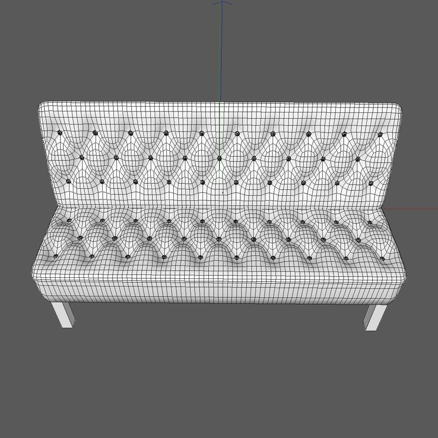 Modern Buttoned Sofa Chair royalty-free 3d model - Preview no. 12