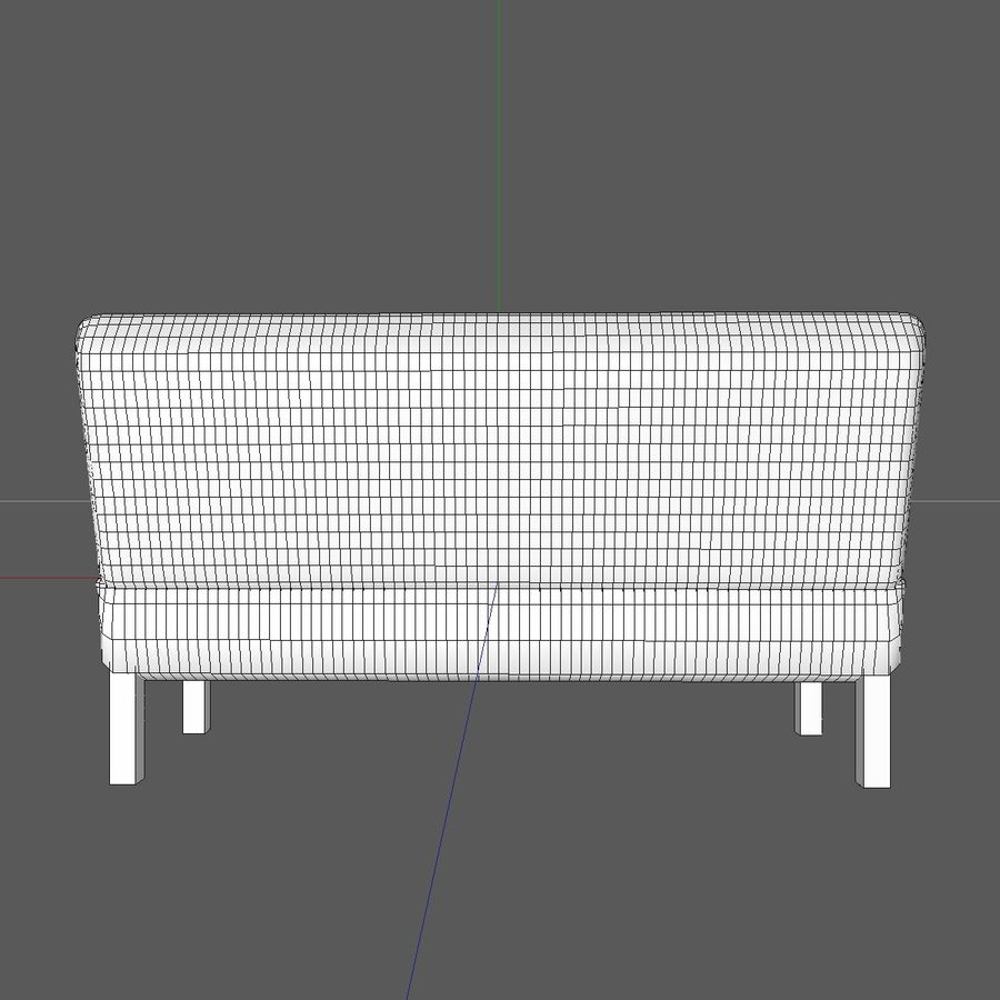 Modern Buttoned Sofa Chair royalty-free 3d model - Preview no. 16