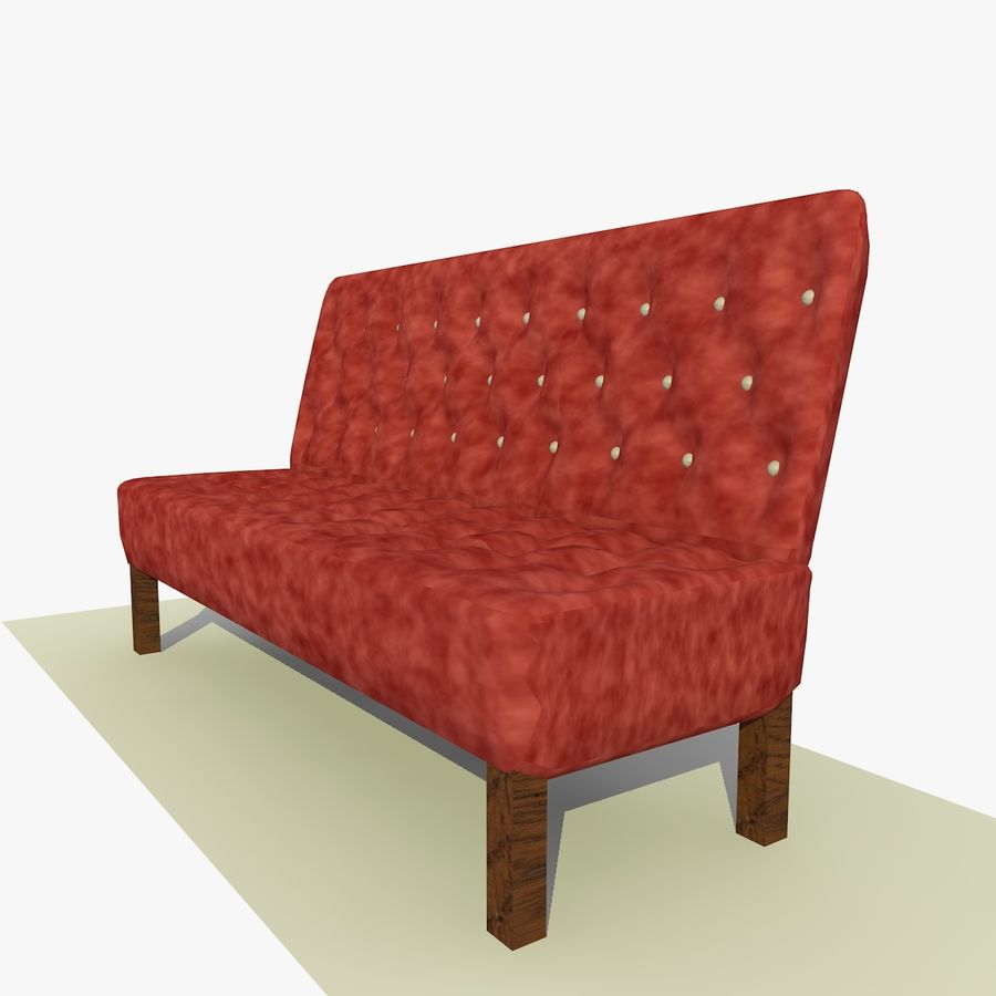 Modern Buttoned Sofa Chair royalty-free 3d model - Preview no. 3