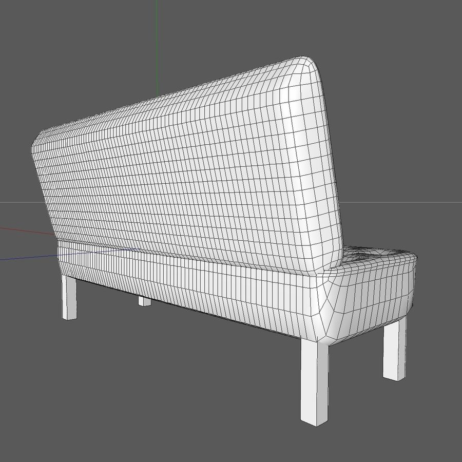 Modern Buttoned Sofa Chair royalty-free 3d model - Preview no. 15