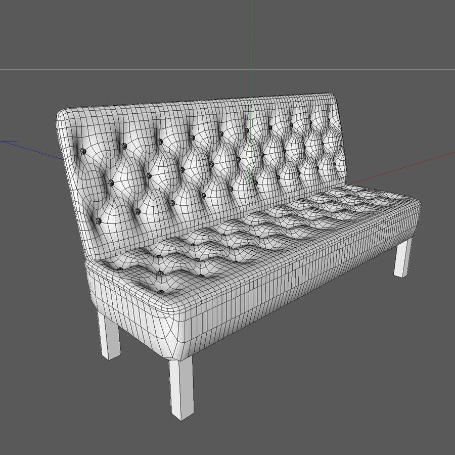 Modern Buttoned Sofa Chair royalty-free 3d model - Preview no. 13