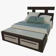 King size bed one textured 3d model
