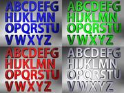 色付きの3Dアルファベット+無料の照明シーン 3d model