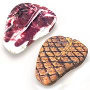 Steaks Porterhouse secs et grillés 3d model