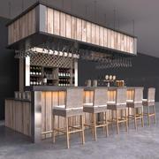 カウンター、編み枝細工のバースツール、ビールタップ、ワインボトル、グラスを備えた完全なバーのインテリア 3d model