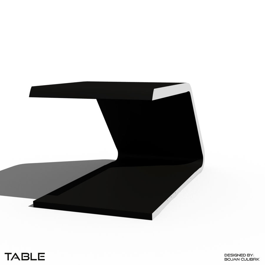 Футуристический стол, стол и скамейка royalty-free 3d model - Preview no. 4