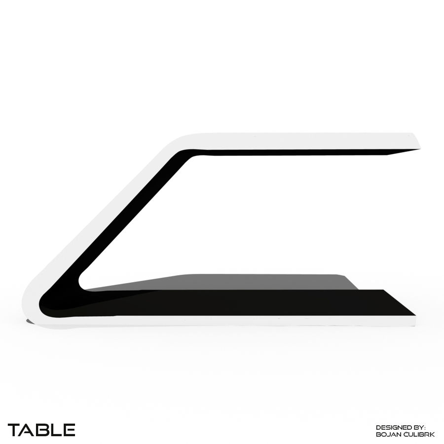Футуристический стол, стол и скамейка royalty-free 3d model - Preview no. 3