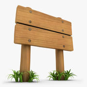 Wooden Signboard With Grass 02 3d model
