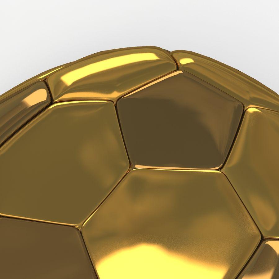 Soccerball plat doré royalty-free 3d model - Preview no. 4