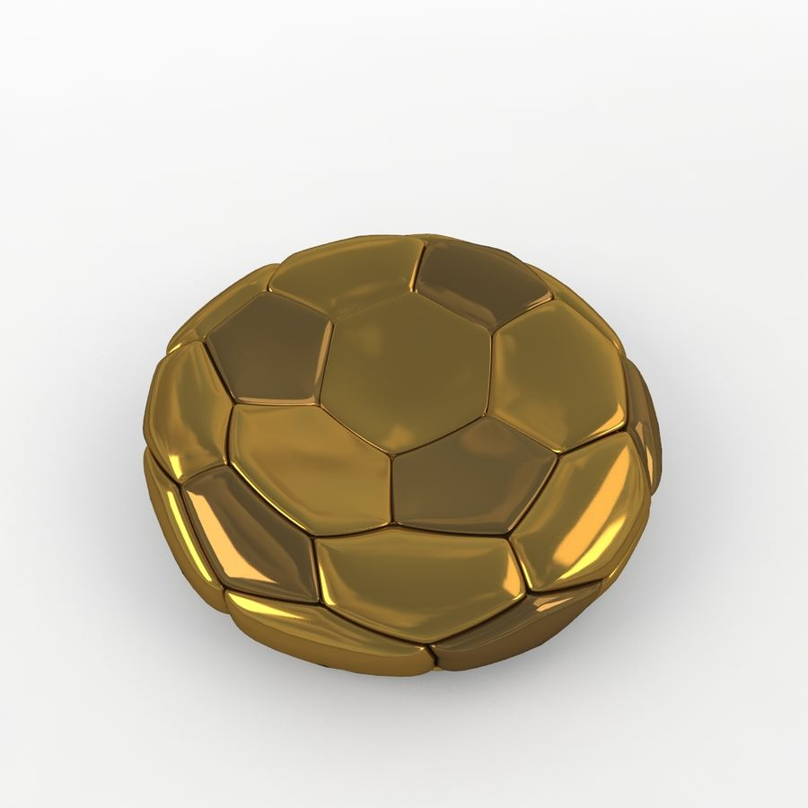 Soccerball plat doré royalty-free 3d model - Preview no. 3
