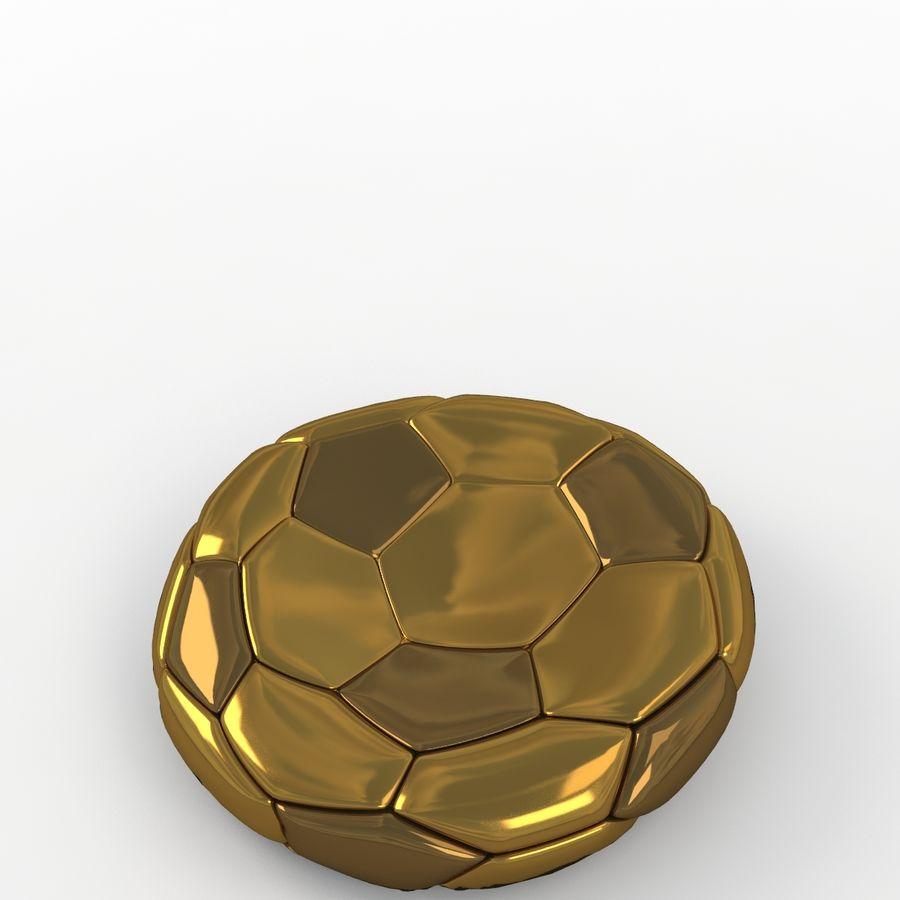 Soccerball plat doré royalty-free 3d model - Preview no. 5
