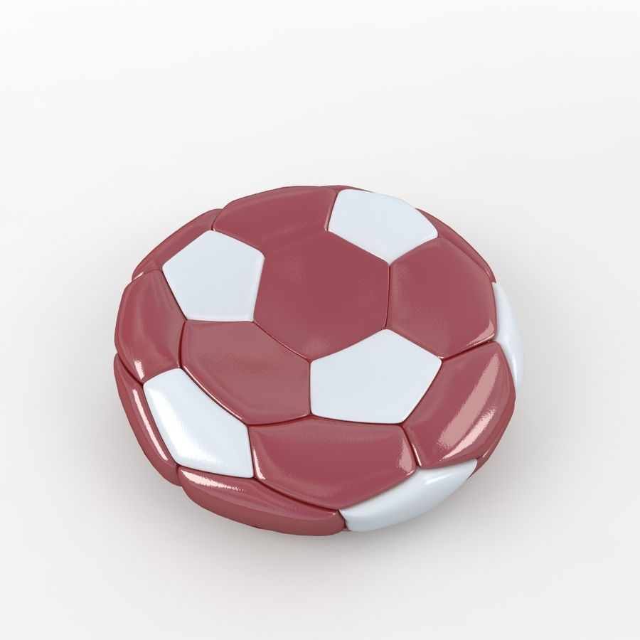 Soccerball plat rouge blanc royalty-free 3d model - Preview no. 3