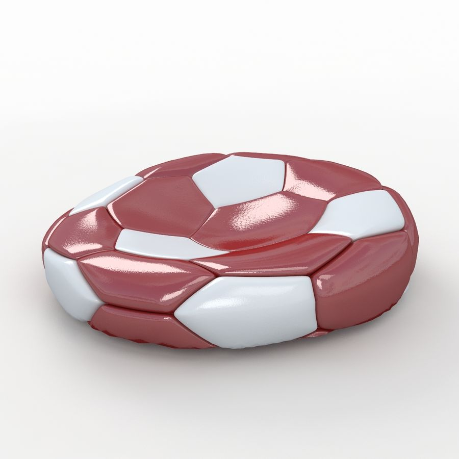 Soccerball plat rouge blanc royalty-free 3d model - Preview no. 1