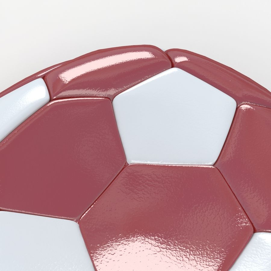Soccerball plat rouge blanc royalty-free 3d model - Preview no. 4