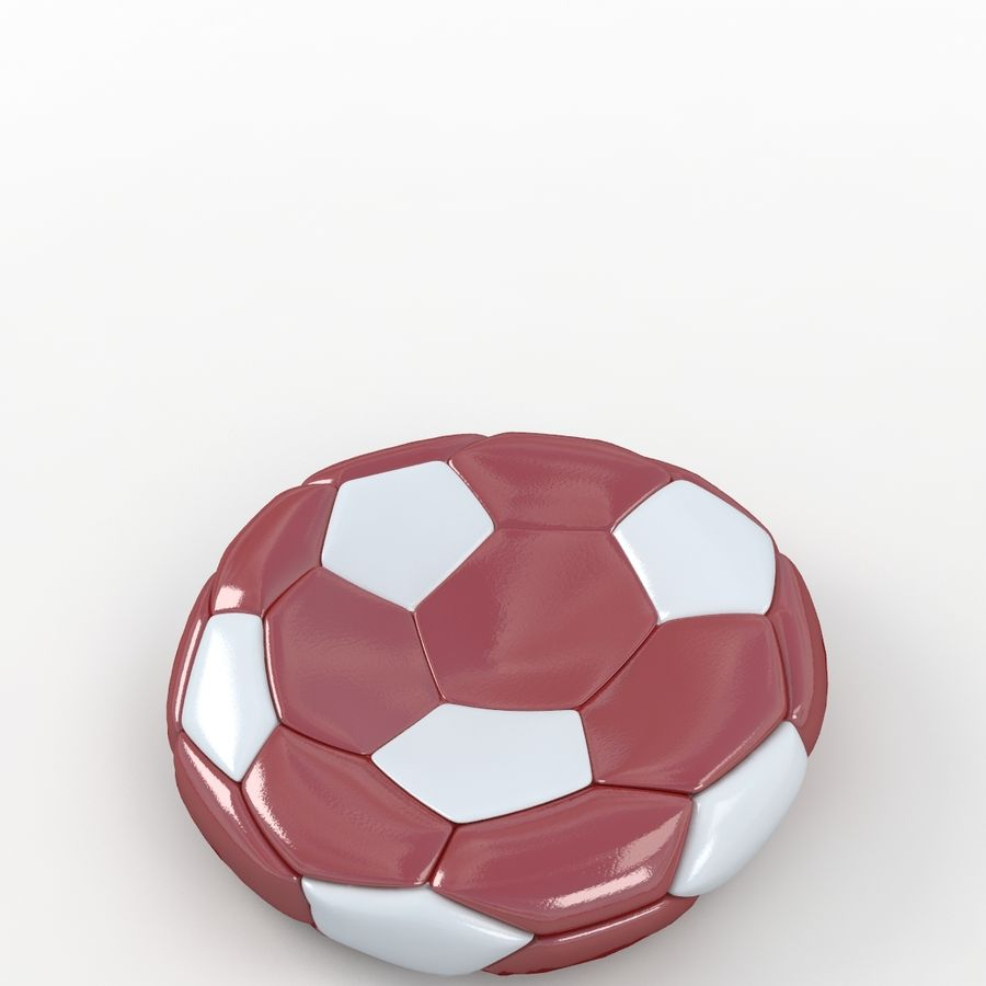 Soccerball plat rouge blanc royalty-free 3d model - Preview no. 5