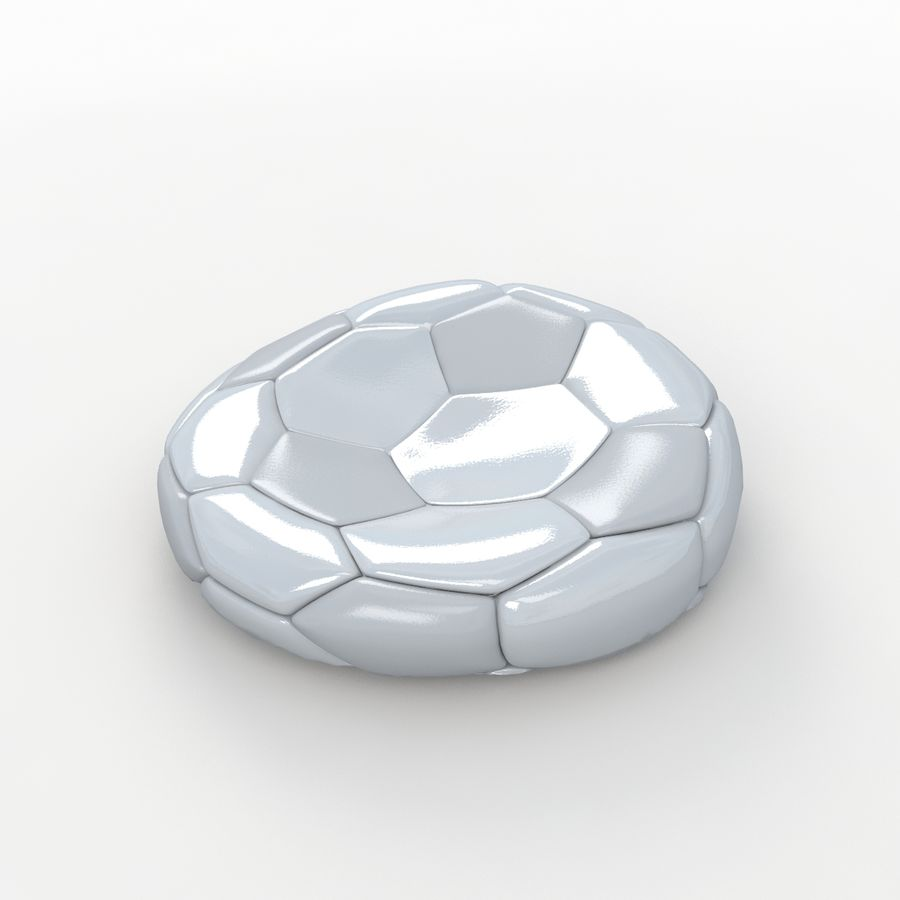 Soccerball plat blanc royalty-free 3d model - Preview no. 1
