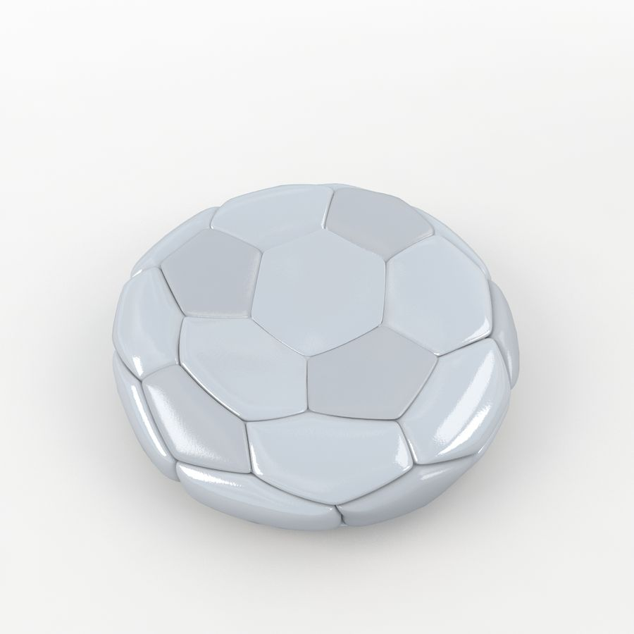 Soccerball plat blanc royalty-free 3d model - Preview no. 3
