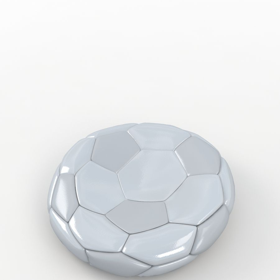 Soccerball plat blanc royalty-free 3d model - Preview no. 5