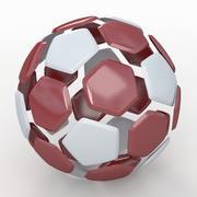 Soccerball split Un rouge blanc 3d model