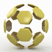 Soccerball split B jaune 3d model