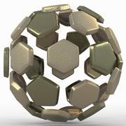 Soccerball diviso in oro C. 3d model