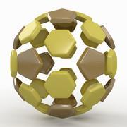Soccerball split C yellow 3d model