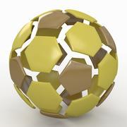 Soccerball split D jaune 3d model