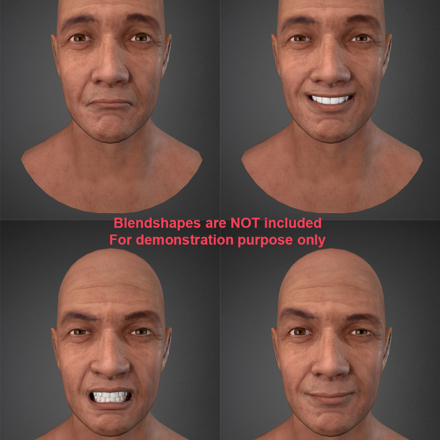 Cabeça masculina royalty-free 3d model - Preview no. 19