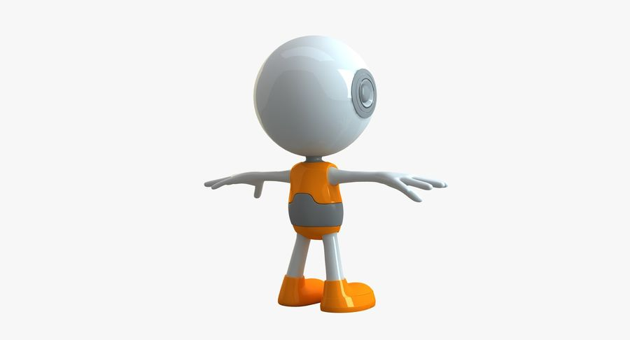 Cartoon Space Robot royalty-free 3d model - Preview no. 2