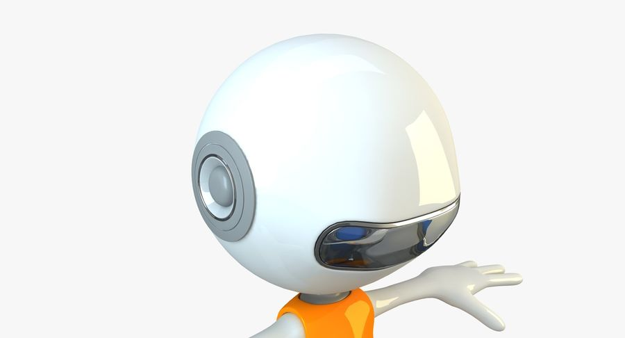 Cartoon Space Robot royalty-free 3d model - Preview no. 6
