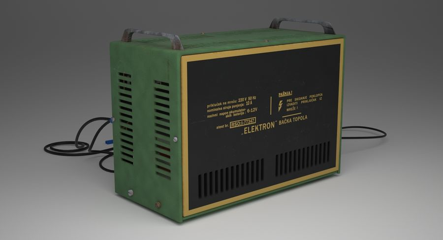 Old Battery Charger royalty-free 3d model - Preview no. 4