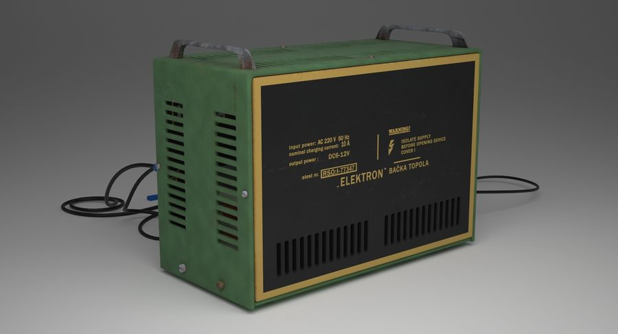 Old Battery Charger royalty-free 3d model - Preview no. 5