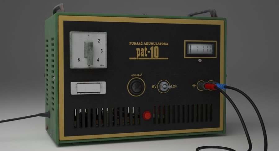 Old Battery Charger royalty-free 3d model - Preview no. 6