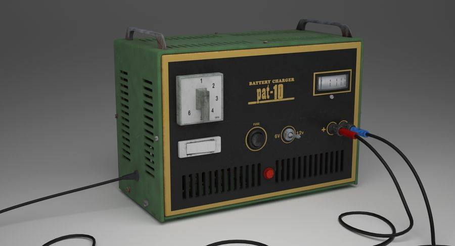 Old Battery Charger royalty-free 3d model - Preview no. 3