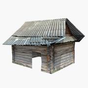 Casa de madeira velha (baixo poli) 3d model