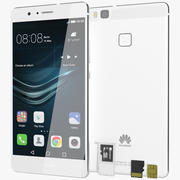 Huawei P9 Lite White with SD/SIM Card Tray 3d model