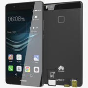 Huawei P9 Lite Black with SD/SIM Card Tray 3d model