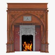Carved Oak Art Nouveau Fireplace 3d model