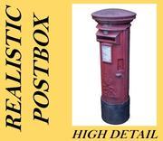 Realistic Royal Mail Post Box 3d model