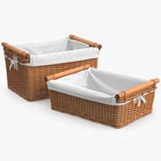 Wicker Basket Rattan 6 3d model