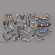 Bibliothèque Kitbash pour surfaces dures - Boîtes / Boulons / Boutons / Câbles / Tuyaux / Tubes 3d model